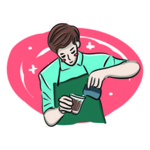 Illustration de Barista mignon