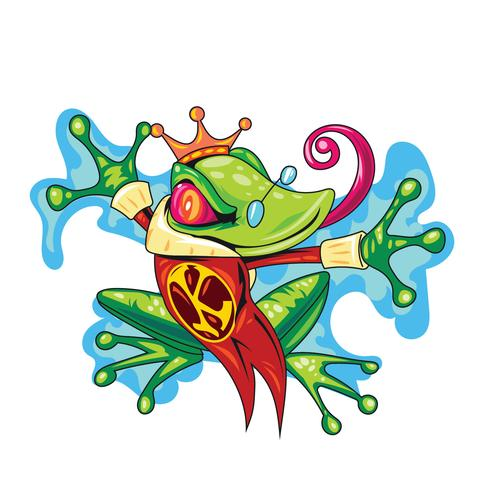 Froschkönig mit Goldkrone, die das Märchen-Konzept darstellt