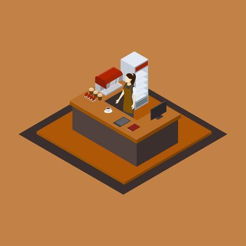 Vetor isométrico de barista