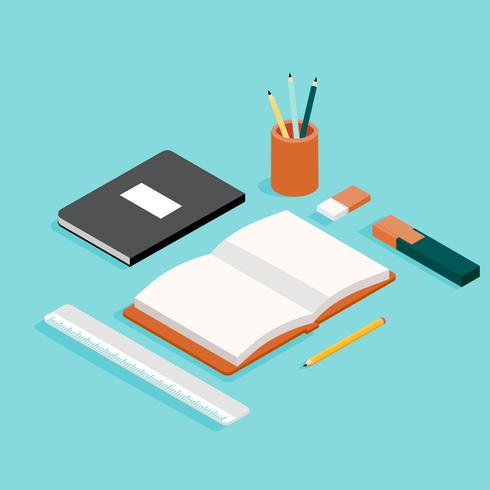 School Supply Isometric Vector