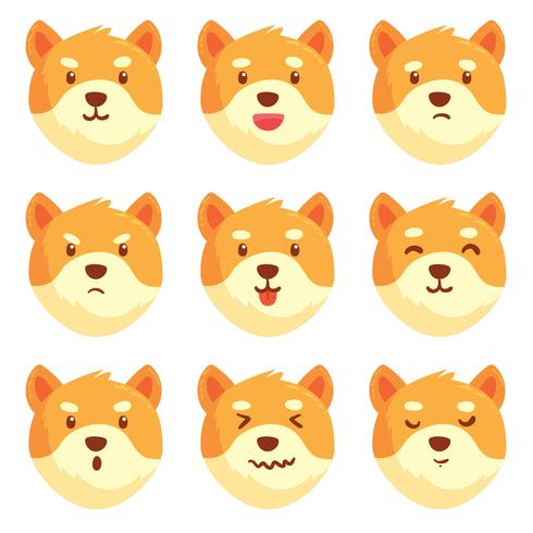 Dog Emotions Collection Vector