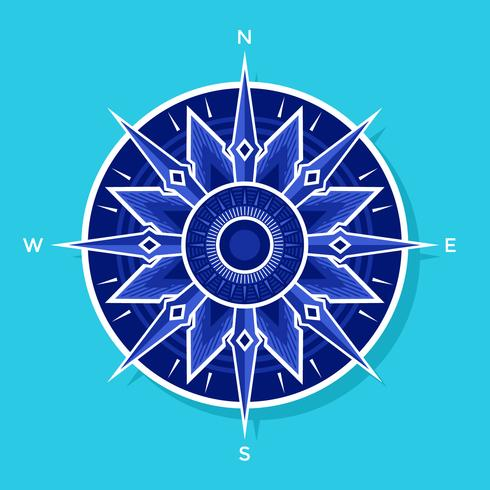 Flat White-Blue Compass Vector