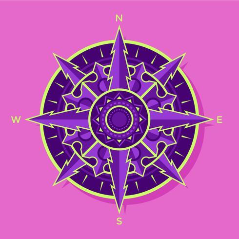 Flat Purple-Green Compass Vector