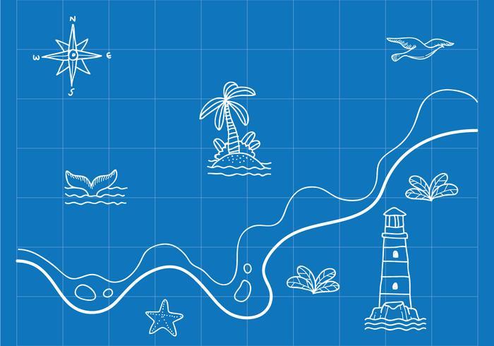 Hand gezeichnete Seekarte