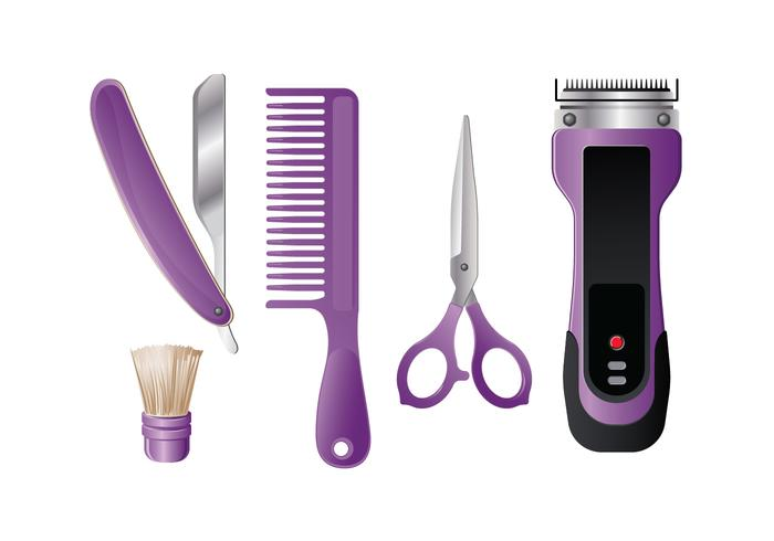 Modeern Realistic Tools of Barber Shop en el fondo blanco