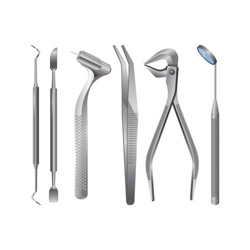 Realistic Dentist Tools and Tooth Healthcare Equipment Set