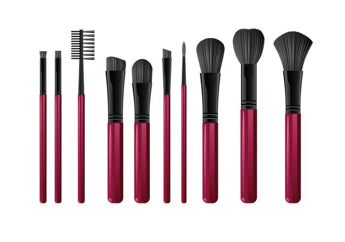 Varias herramientas de pinceles realistas para maquillaje