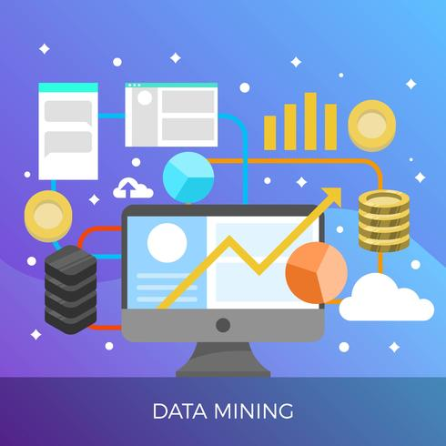 Flat Data Mining Cryptocurrency Process Med Gradient Bakgrund Vector Illustration
