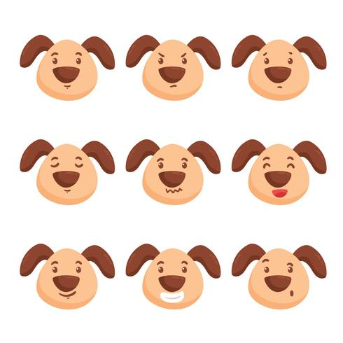 Cute Dog Emotions Vector