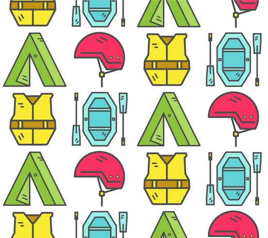 Rafting equipment seamless pattern. Outdoors style, thin line color design. Stylish elements for web, mobile applications, banners, flyers, posters, brochures. Vector - Download Free Vector Art, Stock Graphics & Images