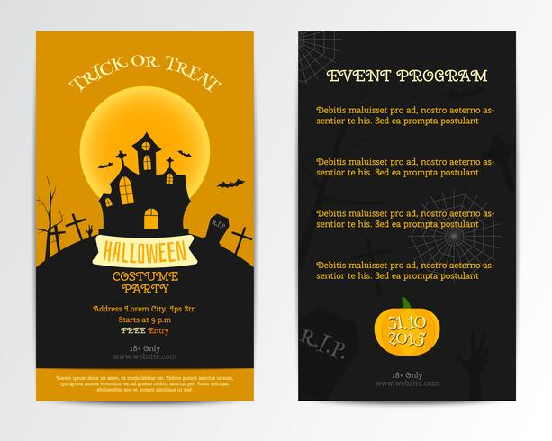 Halloween card invitation. Vector illustration. Dark, orange minimal and flat design. Costume party style. Can be use for cover design poster, flyer, brochure