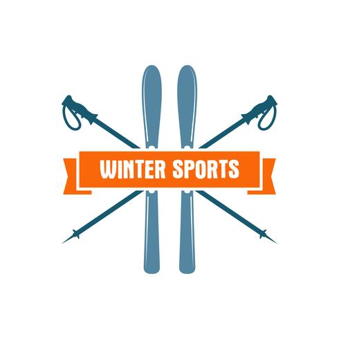 Winter sports Label. Vintage Mountain explorer badge. Outdoor adventure logo design. Travel hand drawn and hipster color insignia. Ski and snowboard icon symbol. Camping emblem. Wilderness Vector