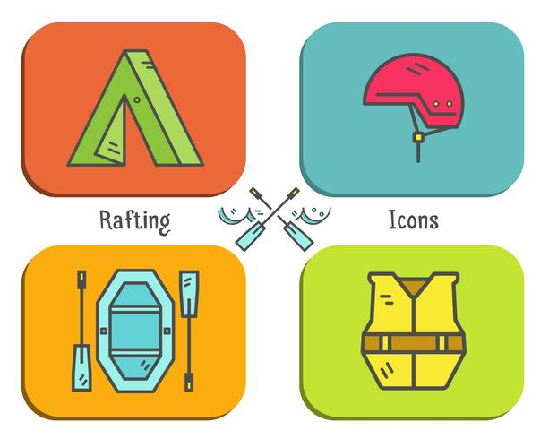 Rafting equipment flat icon, button collection. Outdoors style, bright color design. Stylish elements for web, mobile applications, banners, flyers, posters, brochures. Vector - Download Free Vector Art, Stock Graphics & Images