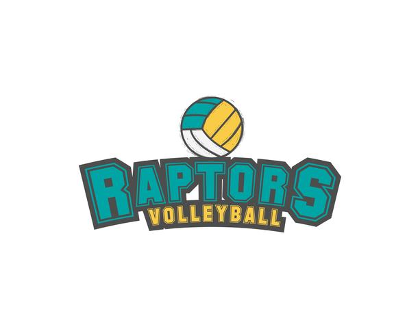 Volleyball club emblem, college league logo,  raptors design template element, tournament badge and label, contest, tug, rush, competition, contest, emulation, game. Sport insignia. Vector