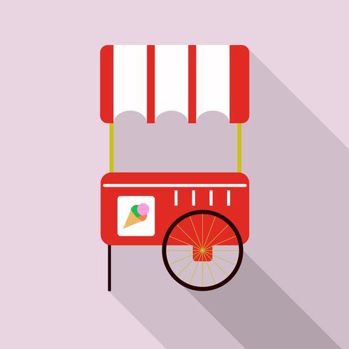 Illustration of ice cream cart isolated in pink background.