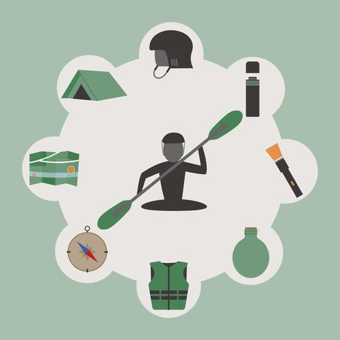 Outdoor infographics. Camping and kayaking. Unusual round design on green background. Summer elements