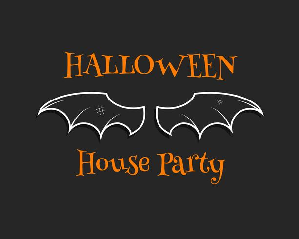 Stylish unique bat background. Happy Halloween house party card. Poster and banner. Flat dark design for celebration halloween. Vector