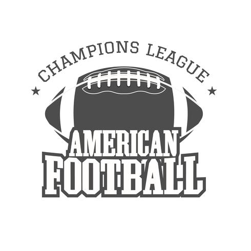American football champions league badge, logo, label, insignia in retro color style. Graphic vintage design for t-shirt, web. Monochrome print isolated on a dark background. Vector
