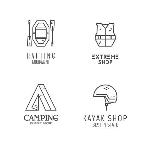 Collection of minimalistic rafting logos, labels or line badges. Outdoor adventure, monochrome design. Best for equipments shop, campsite, travek site, blog, advertising, flyer, banner, poster. Vector