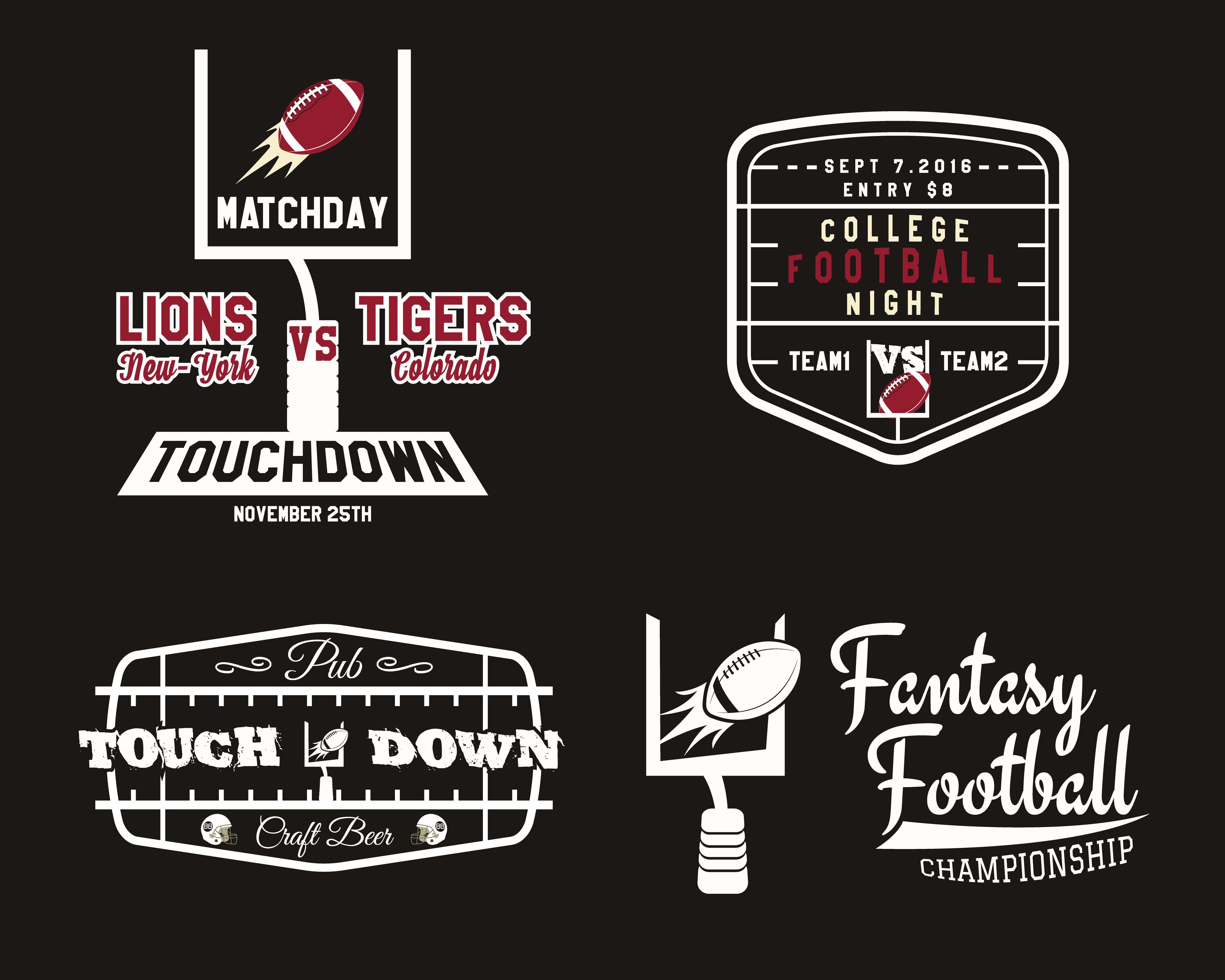 American Football Field And Goal Team Badge, Sport Pub Logo,