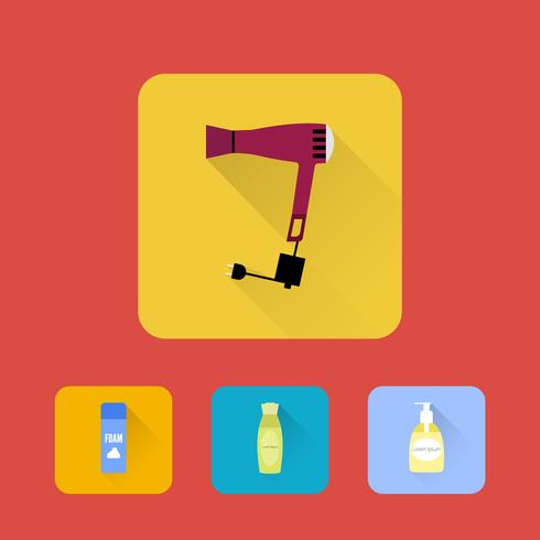 Bathroom elements . Shampoo, hair dryer, shaving Gel and soap. Set of icons. Vector.