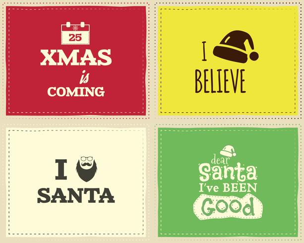 Christmas unique funny sign, quote background design set for kids - xmas is coming. Nice bright palette. Can be use as flyer, banner, poster, background, card. Vector.