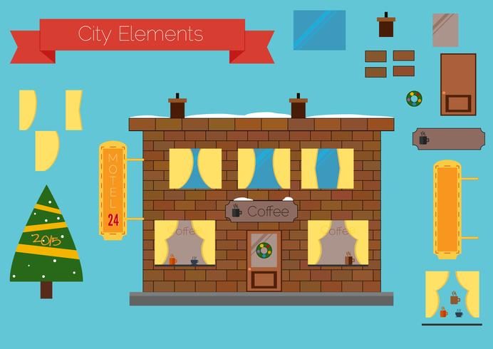 Set of building elements, flat design.