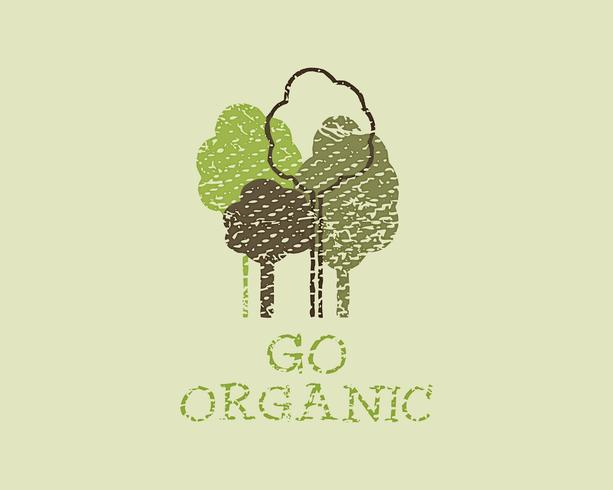 Organic eco green template. Vintage ecology poster, banner and background. Retro grunge design. Vector