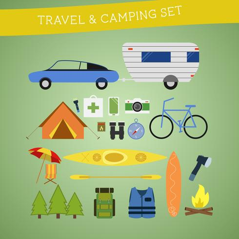 Bright cartoon travel and camping equipment icon set in vector. Recreation, vacation and sport symbols. Flat design