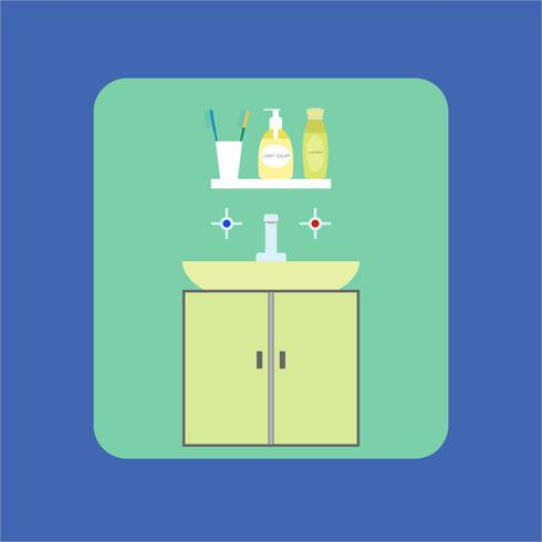 Bathroom interior icon. Washbasin. Soap, shower gel, and toothbrush. Vector