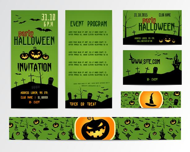 Set of happy halloween greeting cards flyer banner vector set of happy halloween greeting cards flyer banner vector illustration party invitation design with emblem typographic template halloween label cover stopboris Images