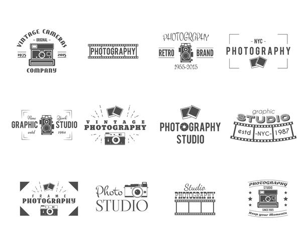 Vintage Photography Badges, Labels templates. Monochrome design with stylish cameras and elements. Retro style for photo studio, photographer, equipment store. Signs, logos. Vector