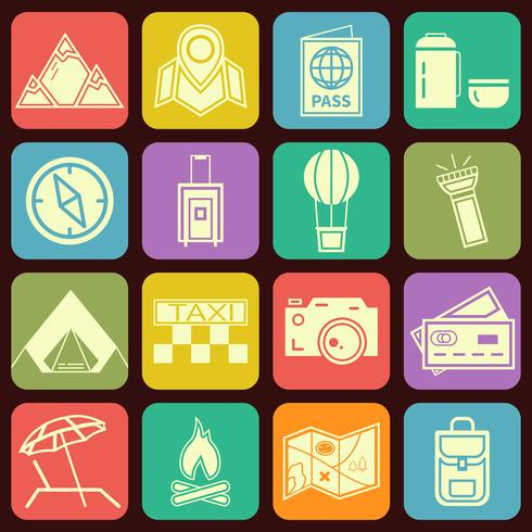 Modern flat traveling and camping icons vector collection in stylish multicolor buttons backgrounds. Vacation theme.