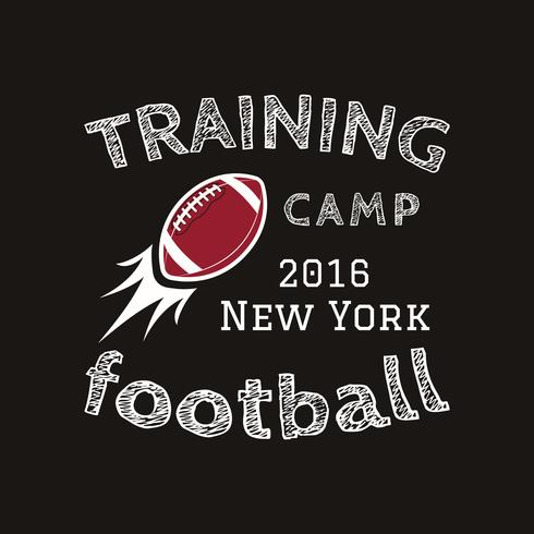 American football training camp logotype, emblem, label, badge in retro color style. Graphic vintage logo design for t-shirt, web. Colorful print isolated on a dark background. Vector