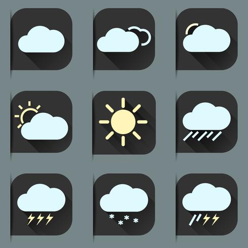 Weather Flat Icons Set vector