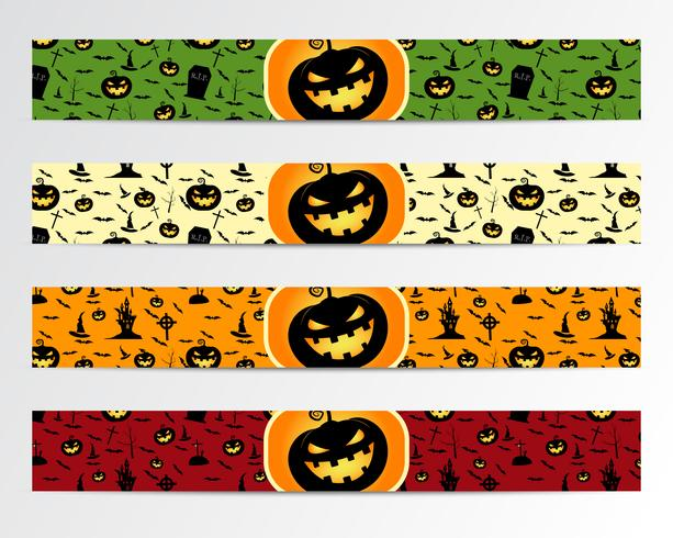 Four Halloween banners with Green, red, bright and orange designs. Can be use on web, print. As invitation, flyer card, halloween  poster etc. Nice design for celebration. Vector.