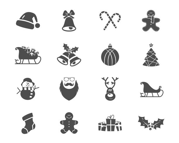 Christmas, Happy New Year and Winter icons collection. Set of holidays symbols, elements - santa, deer, gift, snowman, candy, toys for web, app, ptint.  Vector monochrome silhouette