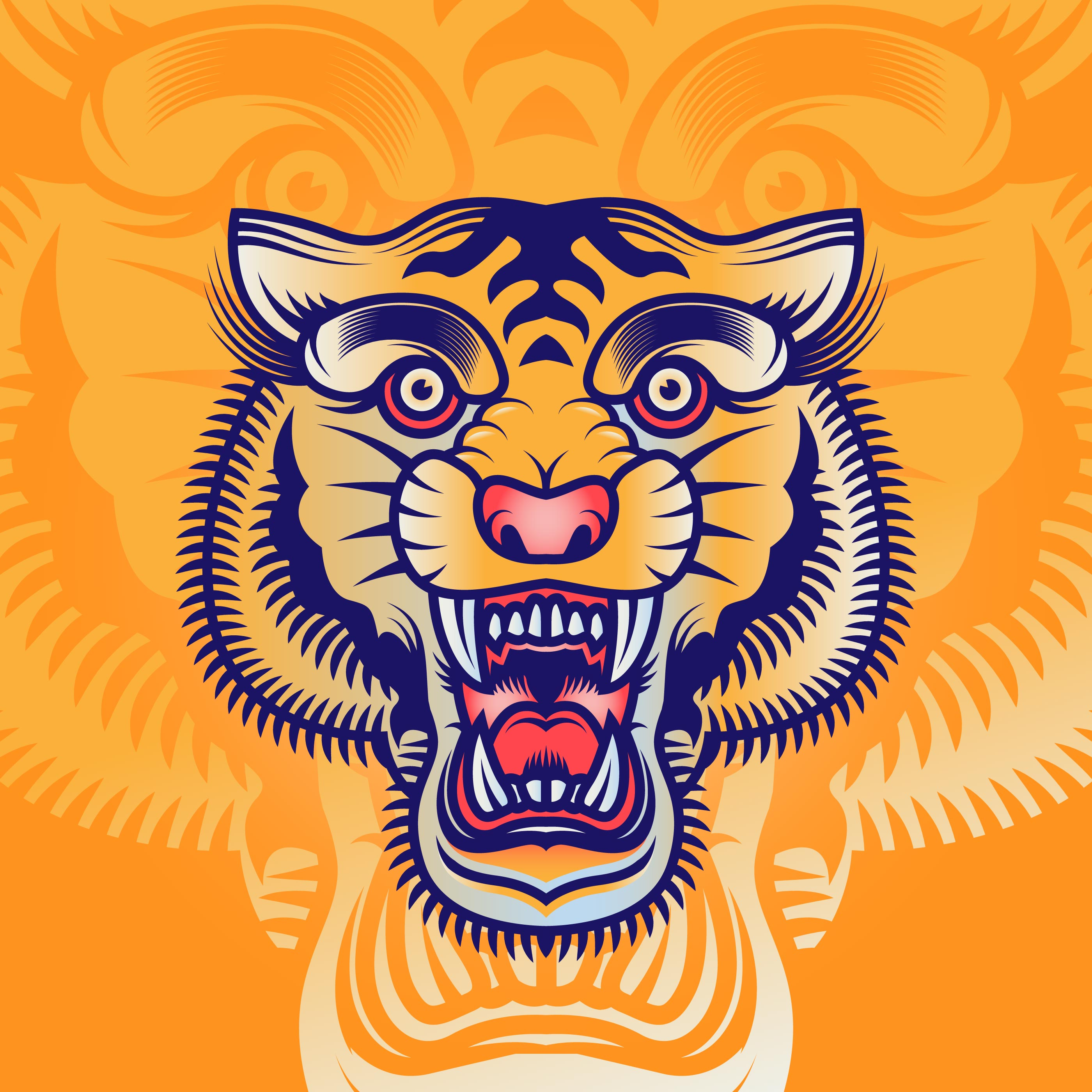 Illustration Tattoos: Old School Tiger Head Tattoo Illustration