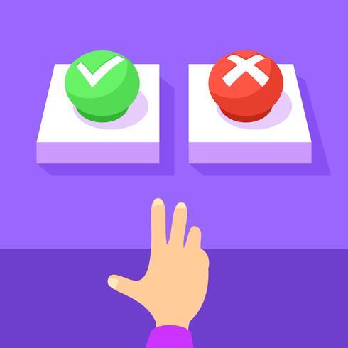 Richtiger und falscher Knopf-Vektor