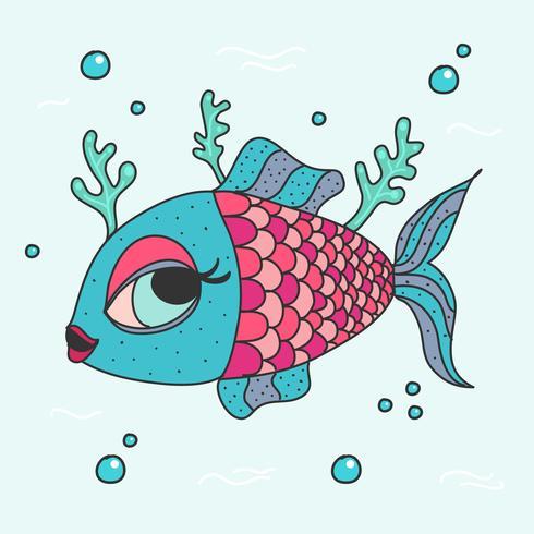 Vecteur de poisson de dessin animé