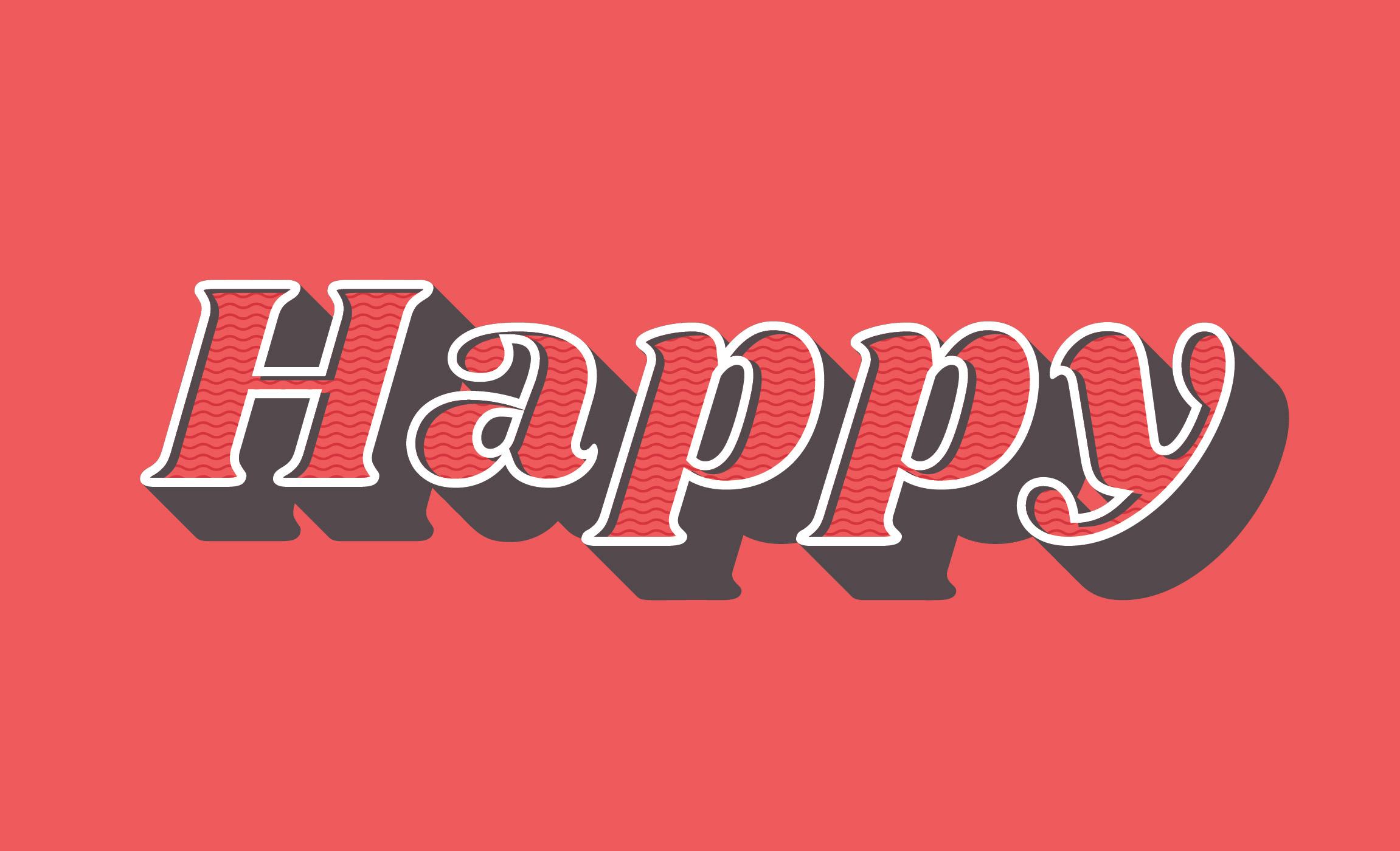 happy retro typography