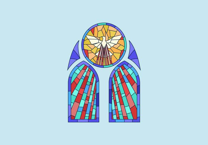 Duif gebrandschilderd glas venster vectorillustratie