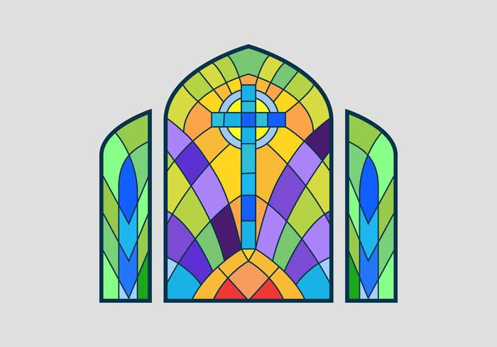 Cross Stained Glass Window Illustration vectorielle