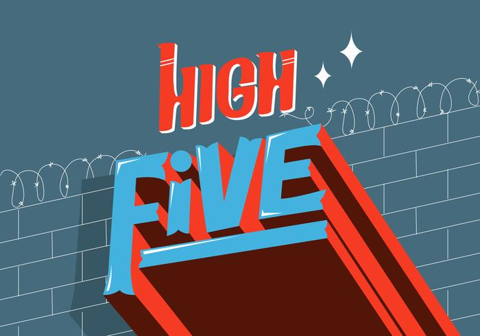 High Five Cool Retro Typography Vector