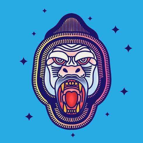 Illustration de tatouage Old School rétro Hipster Kingkong Head