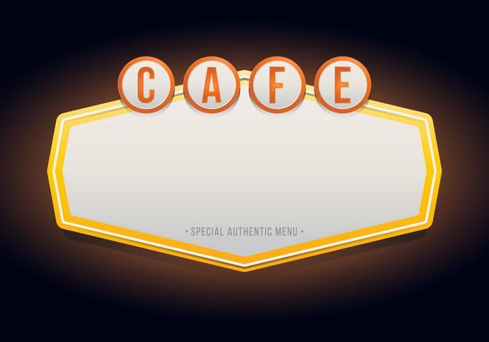 Vintage Cafe eller restaurang skyltar. Retro Vintage Cafe eller restaurangskylt.