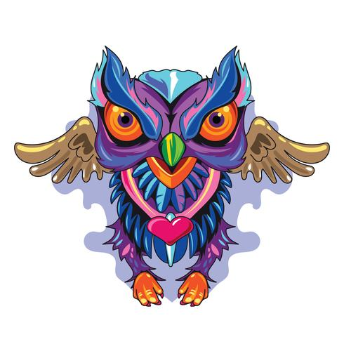 Illustration Chouette Fulcolor Nouveau Concept de tatouages de Skool