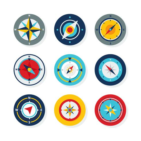 Flat Compass Icon Collection