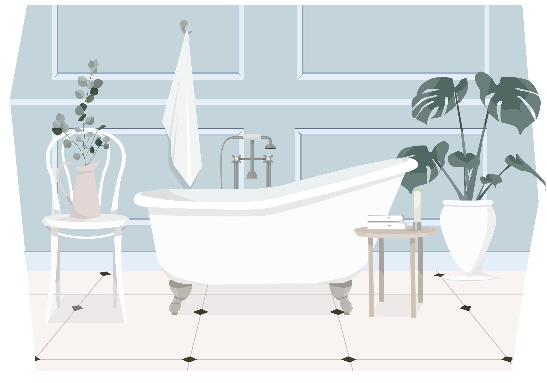 Vector Bathroom Illustration - Download Free Vectors, Clipart