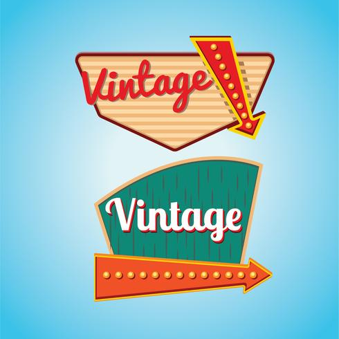 Conjunto de modelo de letreiros vintage